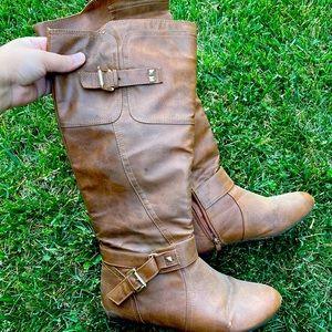 Brown faux leather cowboy 🤠 fashion boots shoes